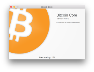 Bitcoin Core startup rescanning window